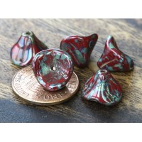 Opaque Red Picasso Czech Glass Beads, 9x12mm Three Petal Flower