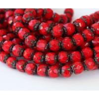 Opaque Red Picasso Czech Glass Beads, 6mm Renaissance