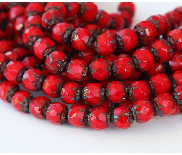 Opaque Red Picasso Czech Glass Beads, 6mm Renaissance