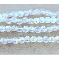 Crystal AB Czech Glass Beads, 5mm Melon Round