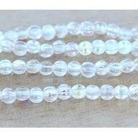 Crystal AB Czech Glass Beads, 5mm Melon Round