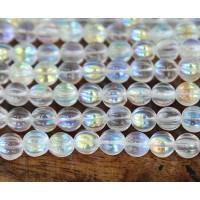Crystal AB Czech Glass Beads, 8mm Melon Round