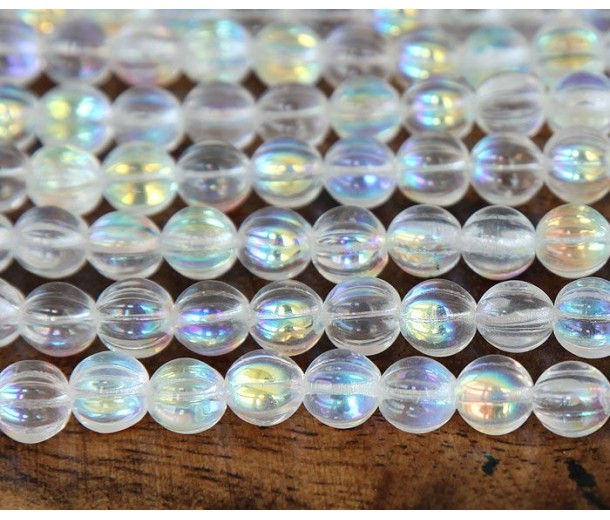 Crystal AB Czech Glass Beads, 8mm Melon Round