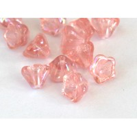 Rosaline AB Czech Glass Beads, 8x6mm Bell Flower