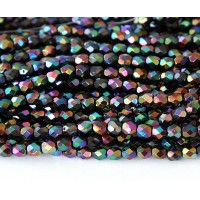 Jet Double AB Czech Glass Beads, 4mm Faceted Round