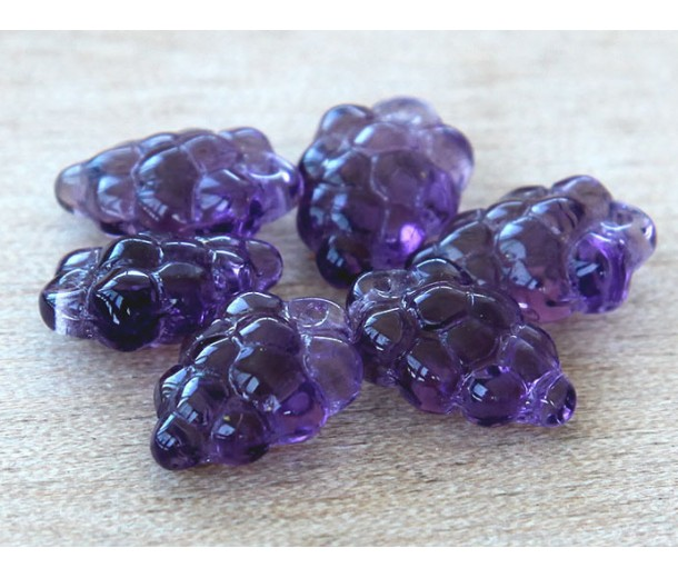 Amethyst Czech Glass Beads, 11x16mm Grape Bunch