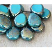 Persian Turquoise Picasso Czech Glass Beads, 12x16mm Table Cut Drop