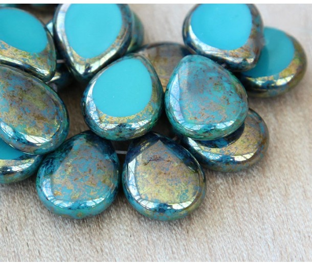 Teal Picasso Czech Glass Beads, 12x16mm Table Cut Drop