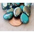Teal Picasso Czech Glass Beads, 12x16mm Table Cut Drop