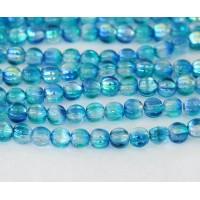 Deep Sea Blue Coated Czech Glass Beads, 5mm Melon Round