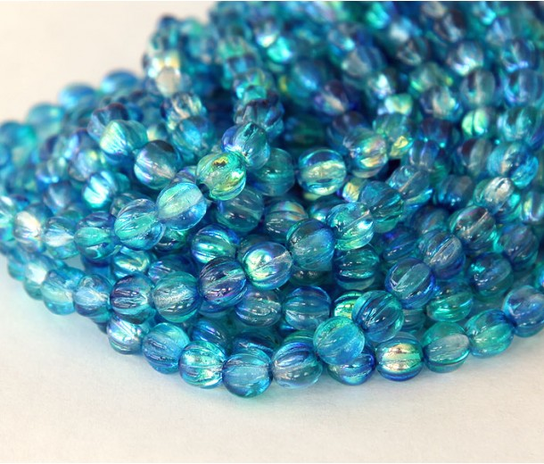 Deep Sea Blue Coated Czech Glass Beads, 5mm Melon Round