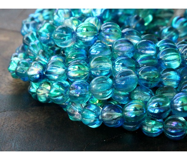 Deep Sea Blue Coated Czech Glass Beads, 8mm Melon Round