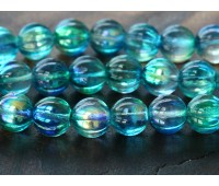 Deep Sea Blue Coated Czech Glass Beads, 8mm Melon Round
