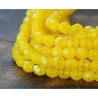 Opal Yellow Czech Glass Beads, 6mm Faceted Round