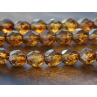Matte Crystal Picasso Czech Glass Beads, 8mm Faceted Round