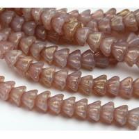 Milky Topaz Pink Czech Glass Beads, 8x6mm Bell Flower