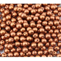 Matte Copper Czech Glass Beads, 6mm Round, Pack of 50