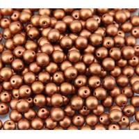 Matte Copper Czech Glass Beads, 6mm Round