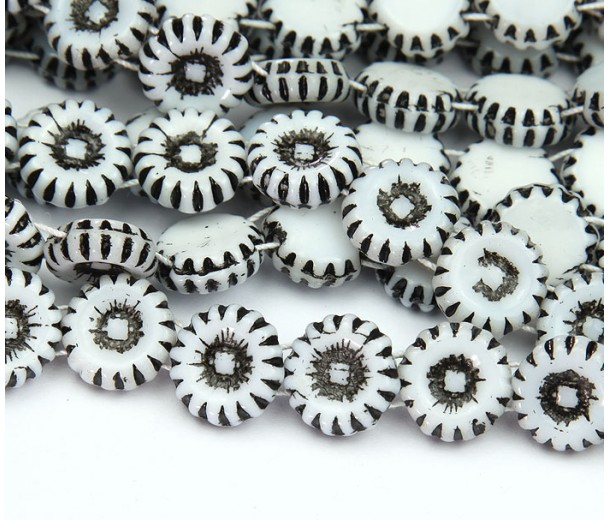 White and Black Czech Glass Beads, 12mm Two-Hole Sunflower