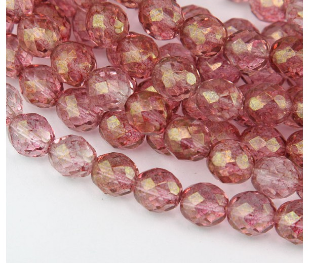 Transparent Topaz Pink Luster Czech Glass Beads, 10mm Faceted Round