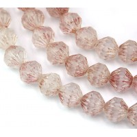Transparent Topaz Pink Luster Czech Glass Beads, 9mm Fluted