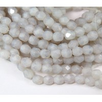 Milky Dove Grey Czech Glass Beads, 6mm Faceted Round