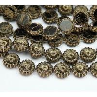 Jet Gold Inlay Czech Glass Beads, 12mm Two-Hole Sunflower