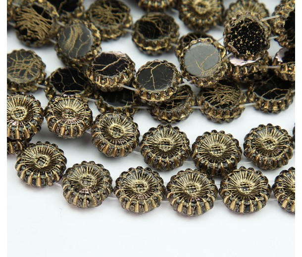 Jet Gold Inlay Czech Glass Beads, 12mm Two-Hole Sunflower