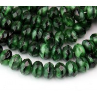 Green With Black Swirl Czech Glass Beads, 9x6mm Rondelle