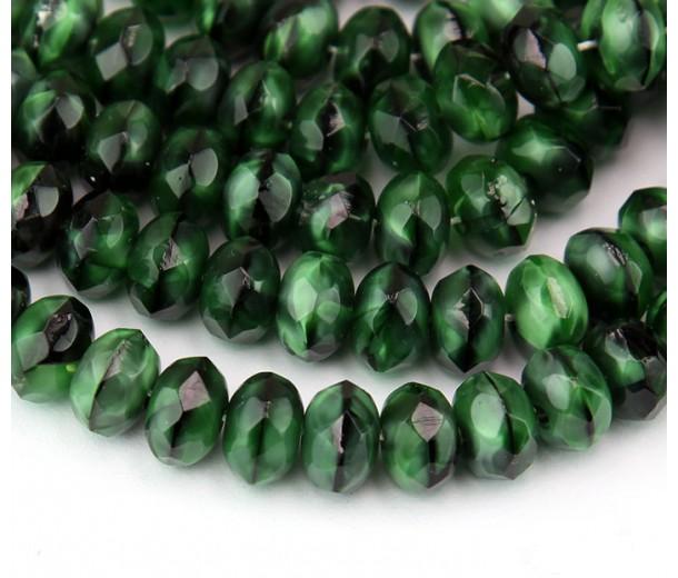 Green With Black Swirl Czech Glass Beads, 9x6mm Rondelle