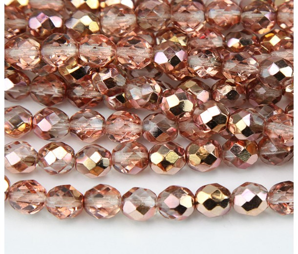 Apollo Gold Czech Glass Beads, 8mm Faceted Round