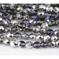 Silver, Blue and Crystal Czech Glass Beads, 8mm Faceted Round