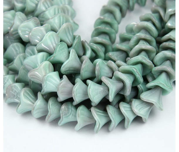Opaque Seafoam Czech Glass Beads, 10x12mm Three Petal Flower, Pack of 12