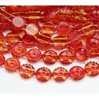 Orange Lemon Coated Czech Glass Beads, 12mm Two-Hole Sunflower