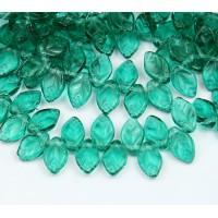 Emerald Czech Glass Beads, 12x7mm Flat Leaf