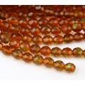 Topaz Green Czech Glass Beads, 10mm Faceted Round