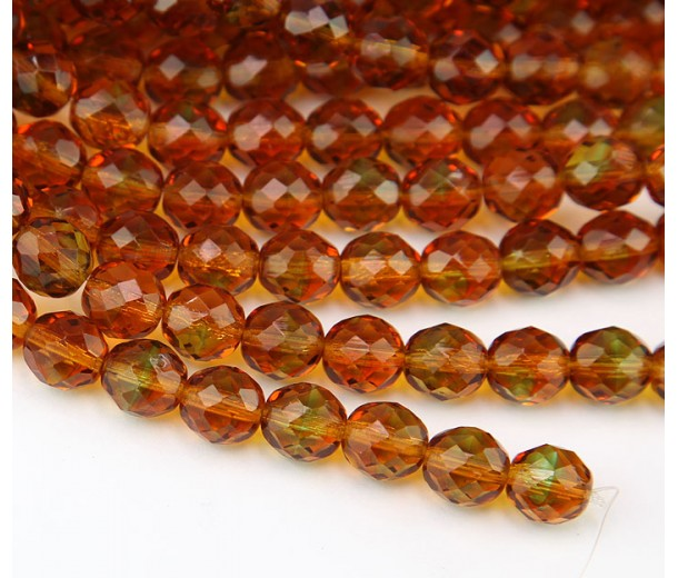 Topaz Green Czech Glass Beads, 10mm Faceted Round