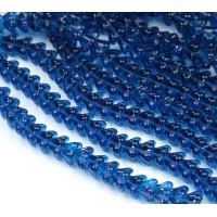 Capri Blue Czech Glass Beads, 8x6mm Bell Flower