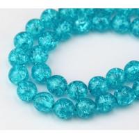 Crackle Cyan Blue Czech Glass Beads, 10mm Round