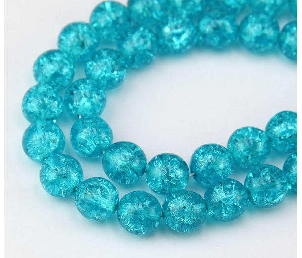 Crackle Cyan Blue Czech Glass Beads, 10mm Round