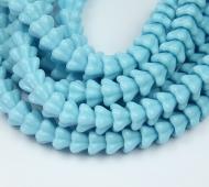 Blue Turquoise Czech Glass Beads, 8x6mm Bell Flower