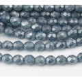 Blue Stone Luster Czech Glass Beads, 8mm Faceted Round