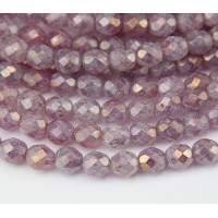 Pink Stone Luster Czech Glass Beads, 8mm Faceted Round