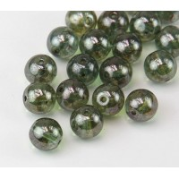 Transparent Green Luster Czech Glass Beads, 10mm Round, Pack of 25