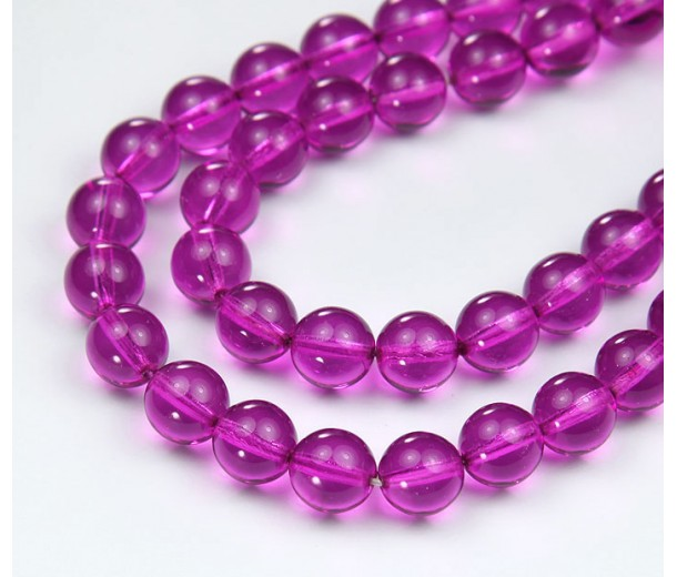 Orchid Czech Glass Beads, 10mm Round, Pack of 25
