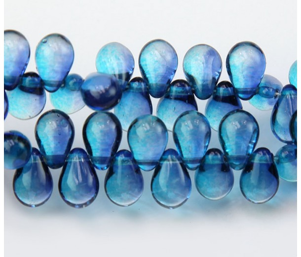 Aquamarine & Capri Blue Czech Glass Beads, 9x6mm Teardrop