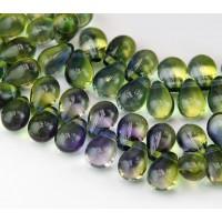 Olivine & Capri Blue Czech Glass Beads, 9x6mm Teardrop