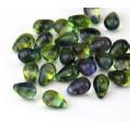 Olivine & Capri Blue Czech Glass Beads, 9x6mm Teardrop, 7 Inch Strand