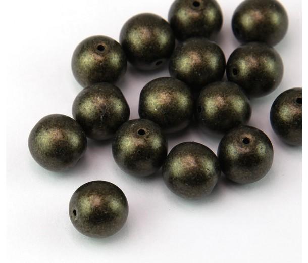 Metallic Suede Bronze Czech Glass Beads, 10mm Round