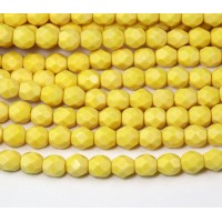 Opaque Yellow Czech Glass Beads, 6mm Faceted Round